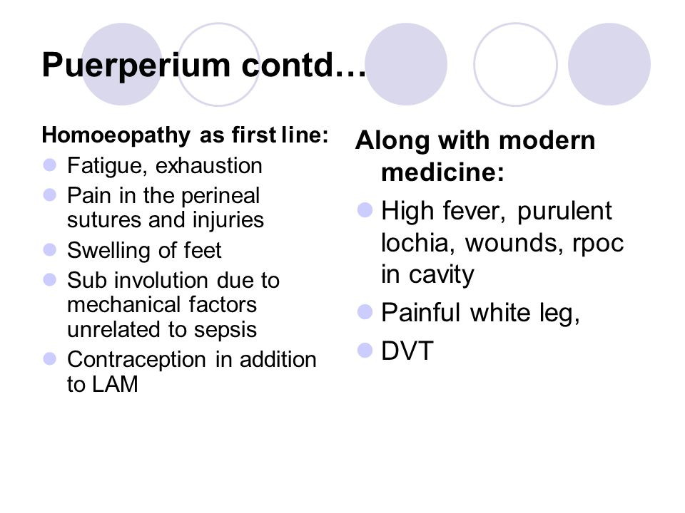 Puerperium contd… Homoeopathy as first line: Fatigue, exhaustion Pain in the perineal sutures and injuries Swelling of feet Sub involution due to mechanical factors unrelated to sepsis Contraception in addition to LAM Along with modern medicine: High fever, purulent lochia, wounds, rpoc in cavity Painful white leg, DVT