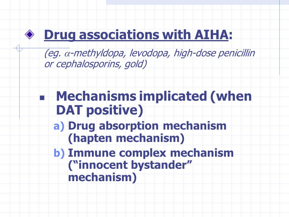 Drug associations with AIHA: (eg.