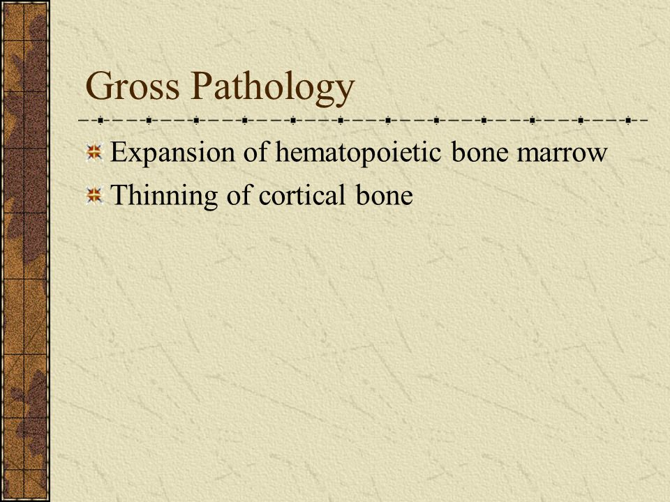 Gross Pathology Expansion of hematopoietic bone marrow Thinning of cortical bone