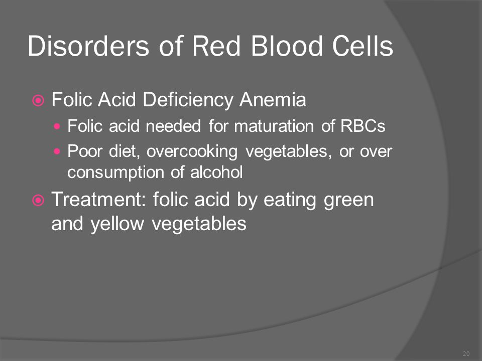 Disorders of Red Blood Cells  Folic Acid Deficiency Anemia Folic acid needed for maturation of RBCs Poor diet, overcooking vegetables, or over consum