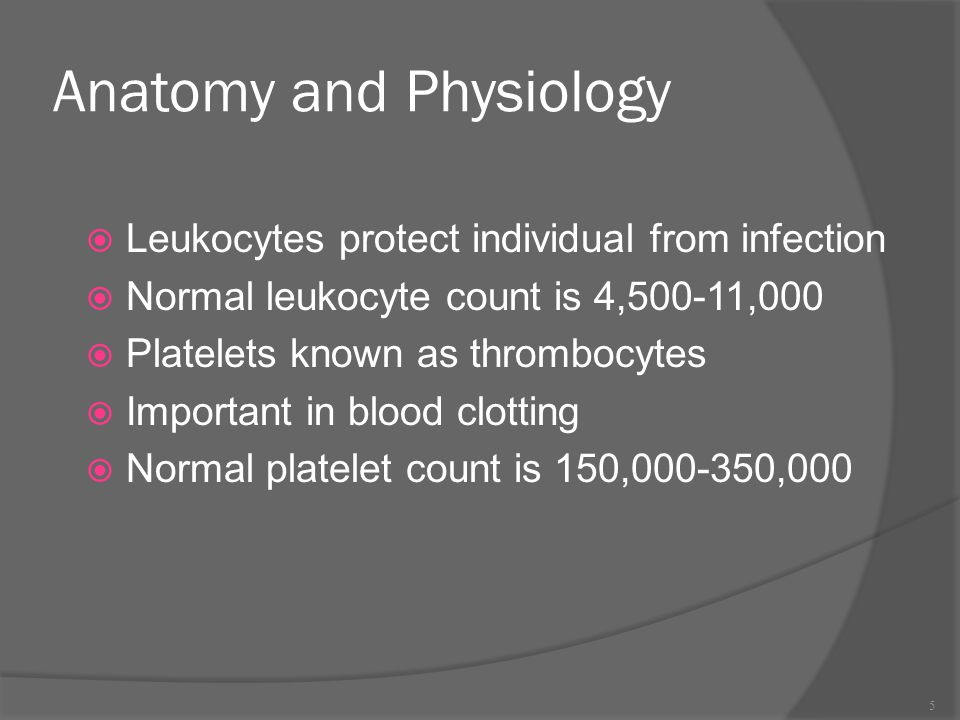Anatomy and Physiology  Leukocytes protect individual from infection  Normal leukocyte count is 4,500-11,000  Platelets known as thrombocytes  Imp