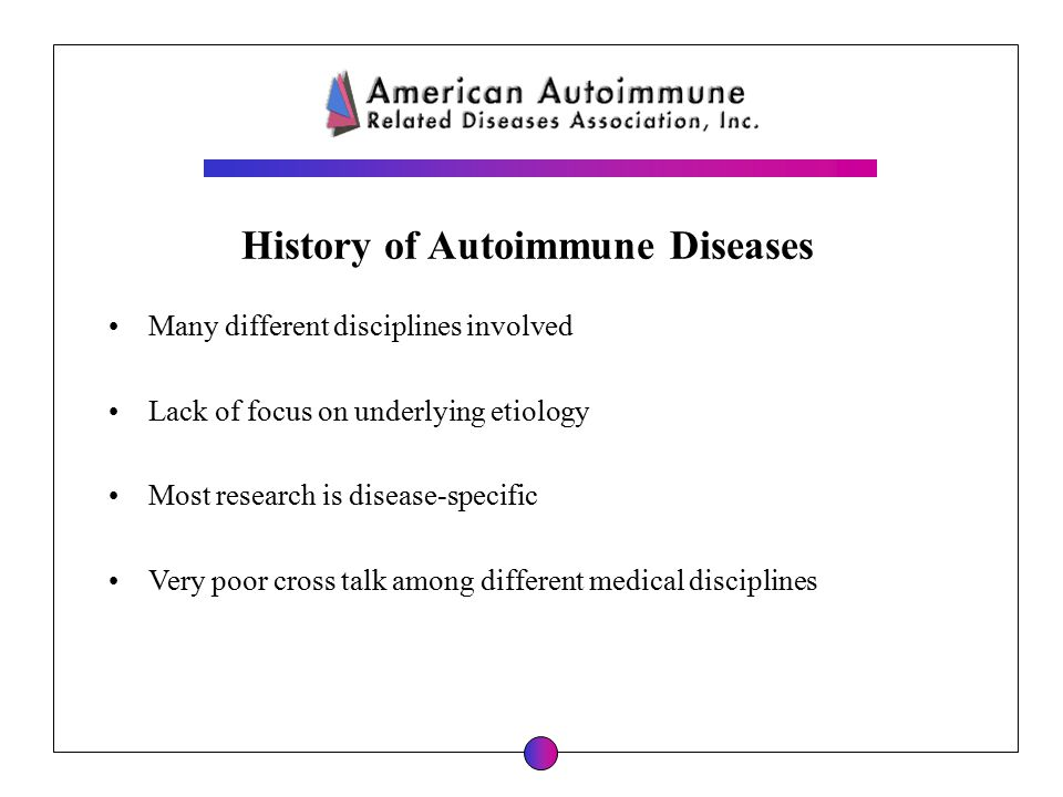 History of Autoimmune Diseases Many different disciplines involved Lack of focus on underlying etiology Most research is disease-specific Very poor cr
