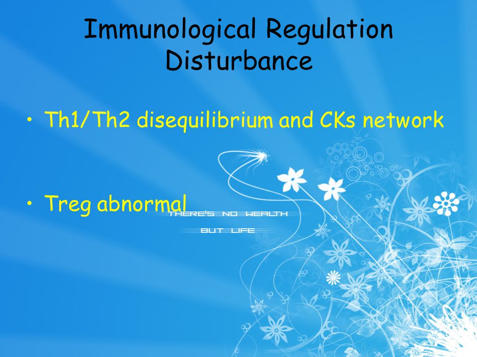 Immunological Regulation Disturbance Th1/Th2 disequilibrium and CKs network Treg abnormal