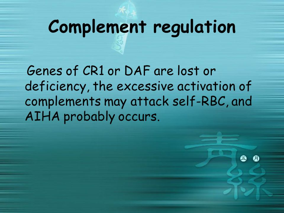 Complement regulation Genes of CR1 or DAF are lost or deficiency, the excessive activation of complements may attack self-RBC, and AIHA probably occurs.