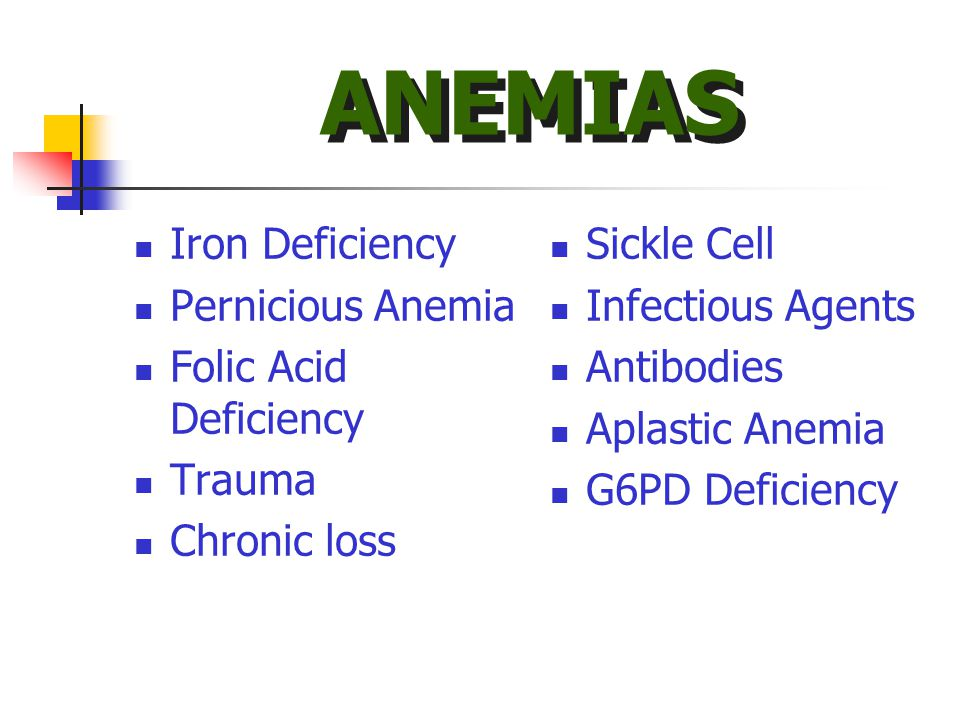 Iron Deficiency Pernicious Anemia Folic Acid Deficiency Trauma Chronic loss Sickle Cell Infectious Agents Antibodies Aplastic Anemia G6PD Deficiency ANEMIAS