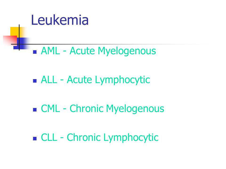 Leukemia AML - Acute Myelogenous ALL - Acute Lymphocytic CML - Chronic Myelogenous CLL - Chronic Lymphocytic