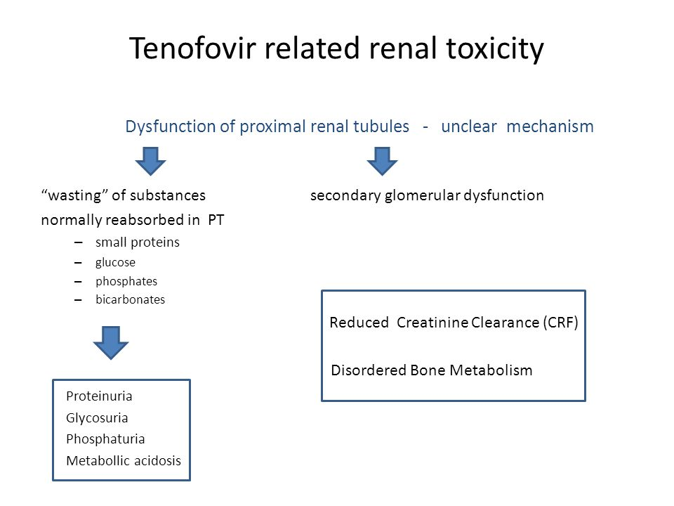 "Tenofovir related renal toxicity Dysfunction of proximal renal tubules - unclear mechanism ""wasting"" of substances secondary glomerular dysfunction no"