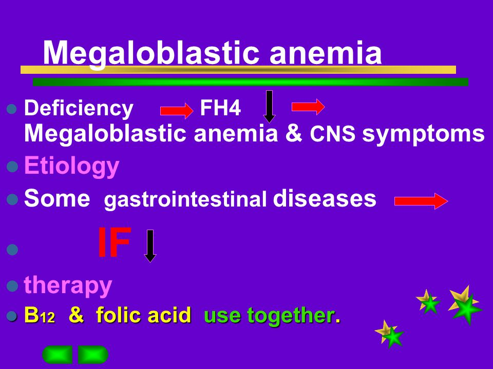 Megaloblastic anemia B 12 B 12 Background mainly from animal absorbed with IF Storage in liver 5-MFH4 B12 FH4 lipin synthesis of nerves