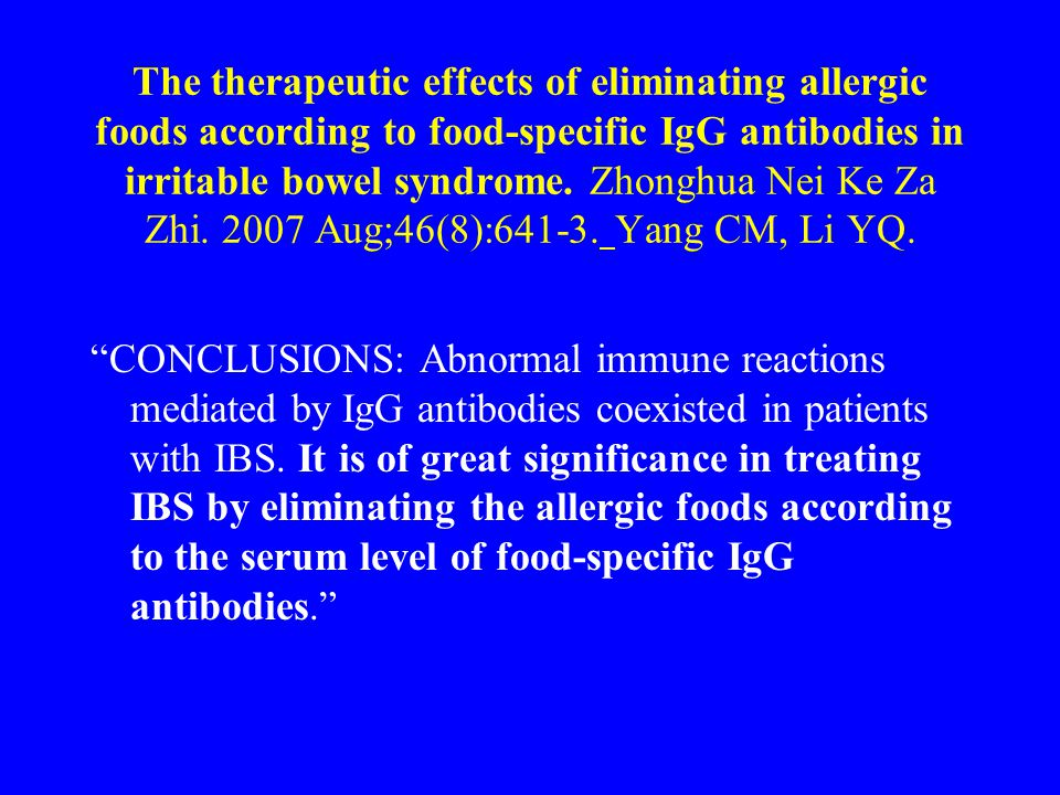 The therapeutic effects of eliminating allergic foods according to food-specific IgG antibodies in irritable bowel syndrome.
