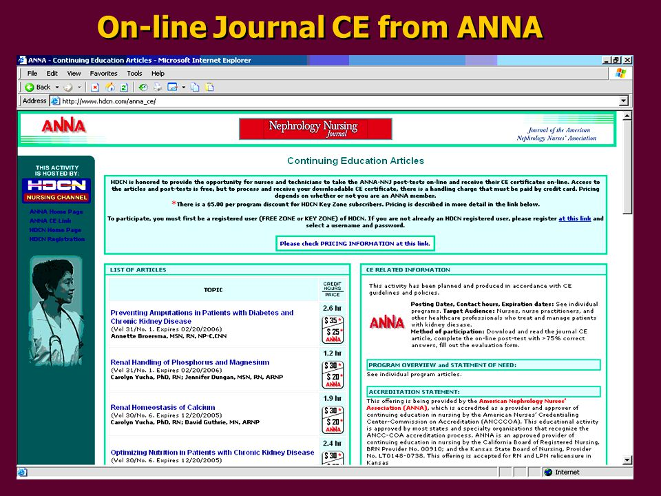 On-line Journal CE from ANNA