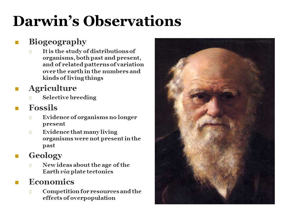 Darwin's Observations Biogeography  It is the study of distributions of organisms, both past and present, and of related patterns of variation over t