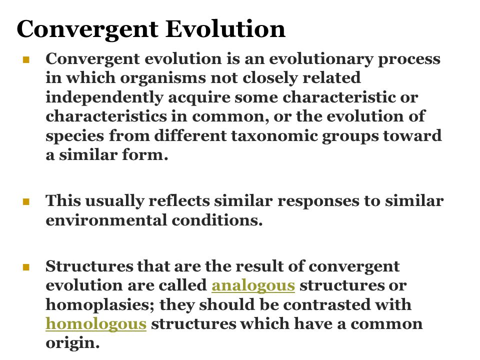 Convergent Evolution Convergent evolution is an evolutionary process in which organisms not closely related independently acquire some characteristic