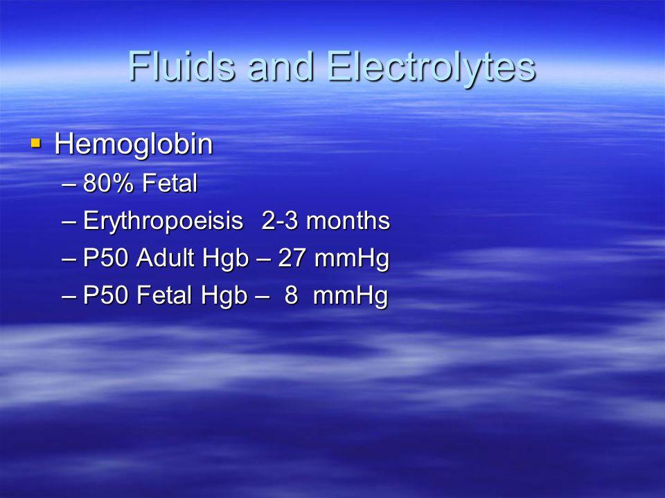 Fluids and Electrolytes  Hemoglobin –80% Fetal –Erythropoeisis 2-3 months –P50 Adult Hgb – 27 mmHg –P50 Fetal Hgb – 8 mmHg