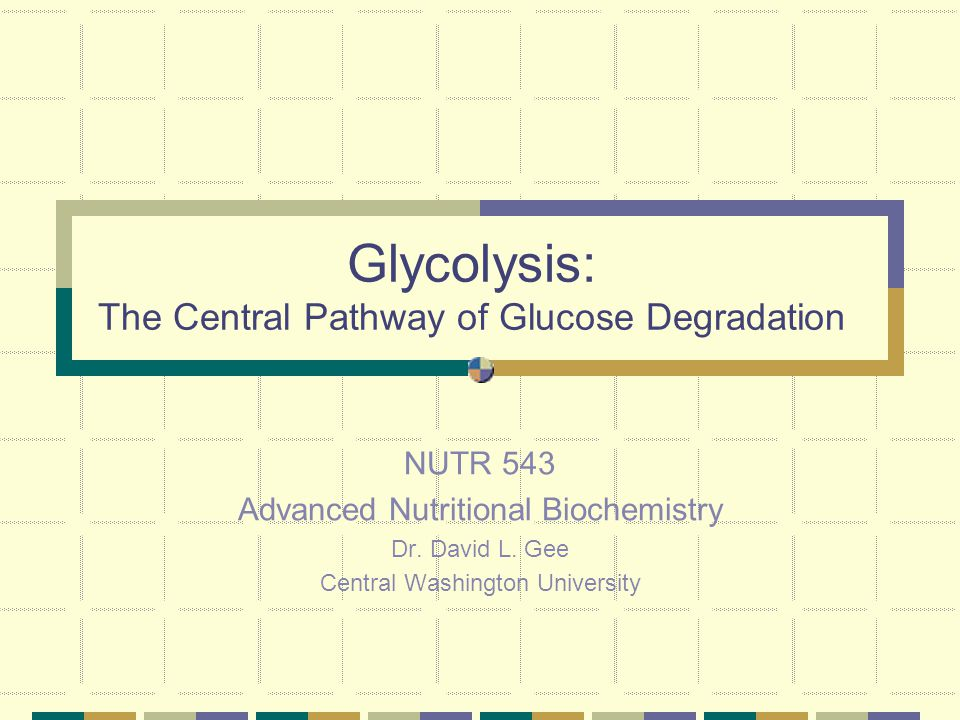 Glycolysis: The Central Pathway of Glucose Degradation NUTR 543 Advanced Nutritional Biochemistry Dr.