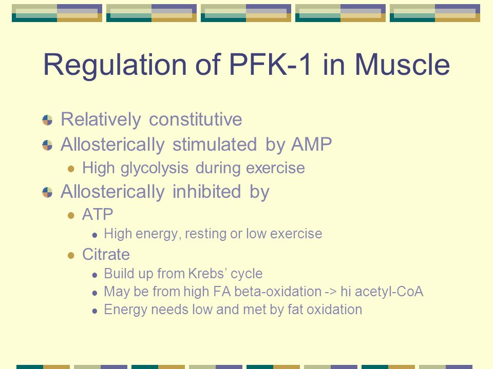 Regulation of PFK-1 in Muscle Relatively constitutive Allosterically stimulated by AMP High glycolysis during exercise Allosterically inhibited by ATP High energy, resting or low exercise Citrate Build up from Krebs' cycle May be from high FA beta-oxidation -> hi acetyl-CoA Energy needs low and met by fat oxidation