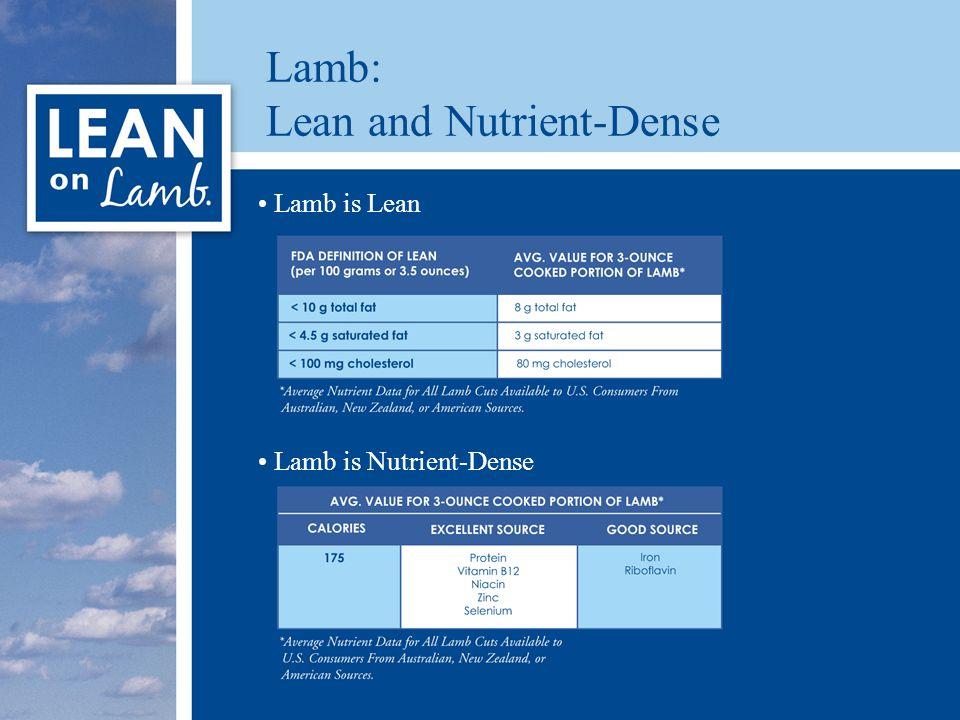 Lamb: Lean and Nutrient-Dense Lamb is Lean Lamb is Nutrient-Dense