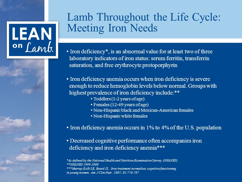 Lamb Throughout the Life Cycle: Meeting Iron Needs Iron deficiency*, is an abnormal value for at least two of three laboratory indicators of iron status: serum ferritin, transferrin saturation, and free erythrocyte protoporphyrin Iron deficiency anemia occurs when iron deficiency is severe enough to reduce hemoglobin levels below normal.
