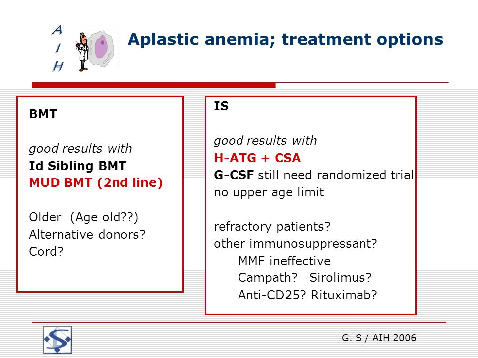 G. S / AIH 2006 Aplastic anemia; treatment options BMT good results with Id Sibling BMT MUD BMT (2nd line) Older (Age old??) Alternative donors? Cord?