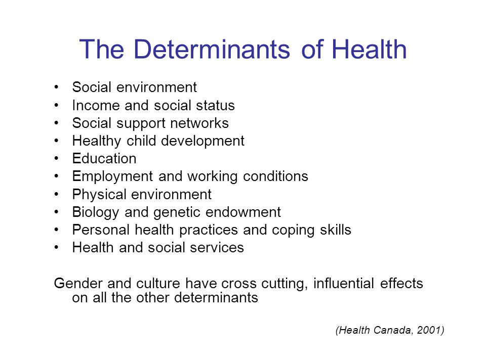 The Determinants of Health Social environment Income and social status Social support networks Healthy child development Education Employment and working conditions Physical environment Biology and genetic endowment Personal health practices and coping skills Health and social services Gender and culture have cross cutting, influential effects on all the other determinants (Health Canada, 2001)