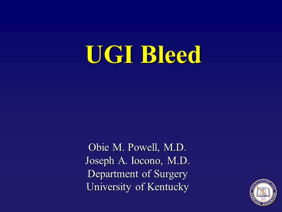 Upper Gastrointestinal Bleeding  Esophagitis- Hiatus hernia and reflux esophagitis are not common causes of upper GI bleeding.
