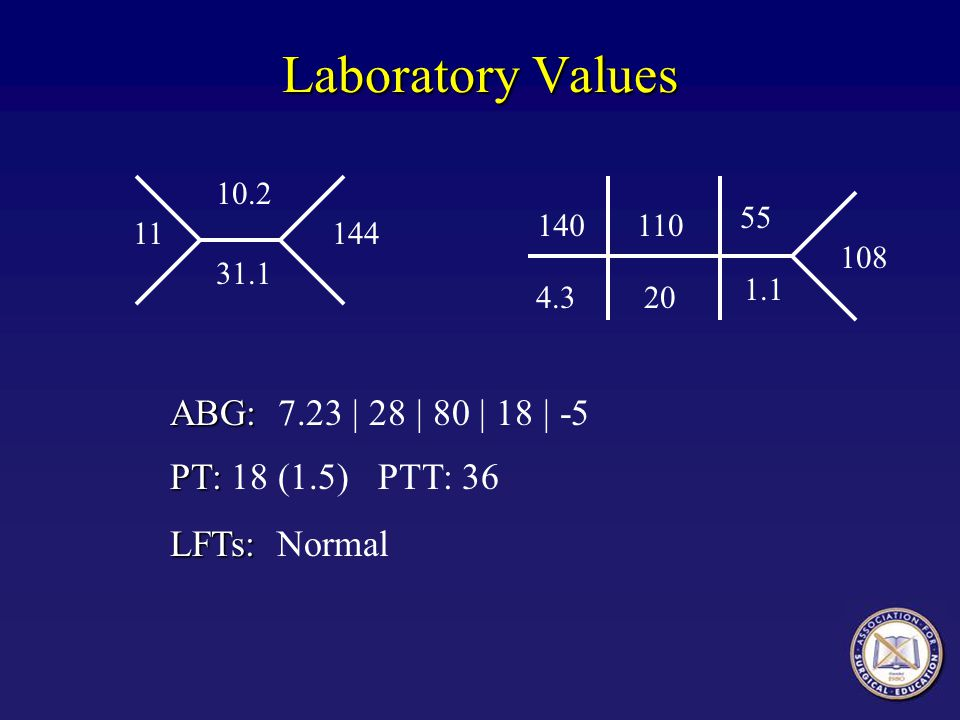 Laboratory Values 140110 4.320 10.2 31.1 144 108 55 1.1 11 ABG: ABG: 7.23 | 28 | 80 | 18 | -5 PT: PT: 18 (1.5) PTT: 36 LFTs: LFTs: Normal