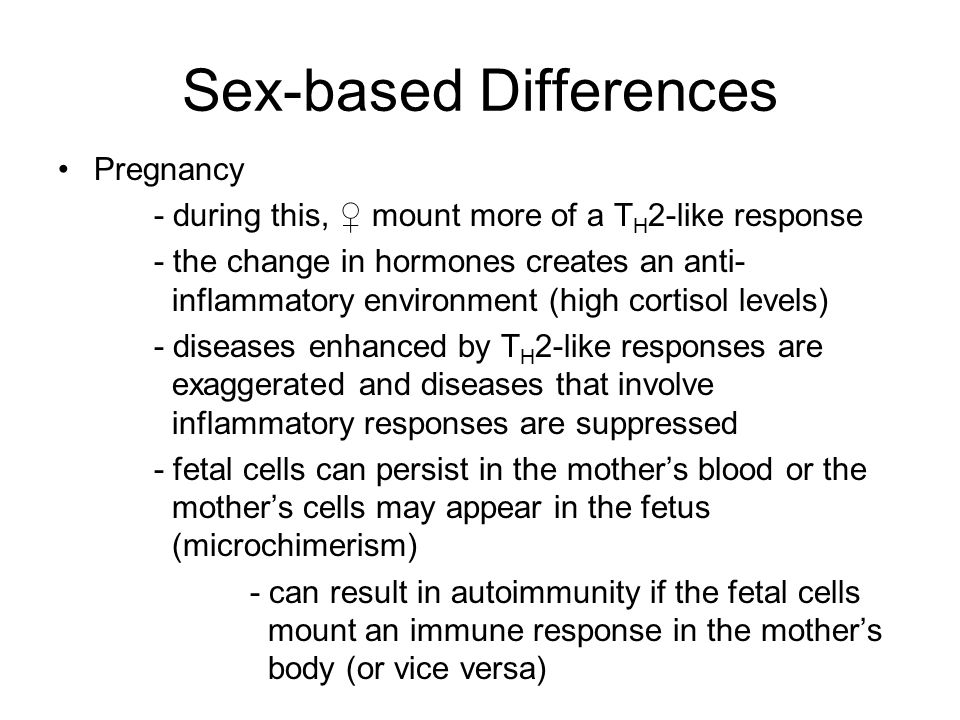 Sex-based Differences Pregnancy - during this, ♀ mount more of a T H 2-like response - the change in hormones creates an anti- inflammatory environmen