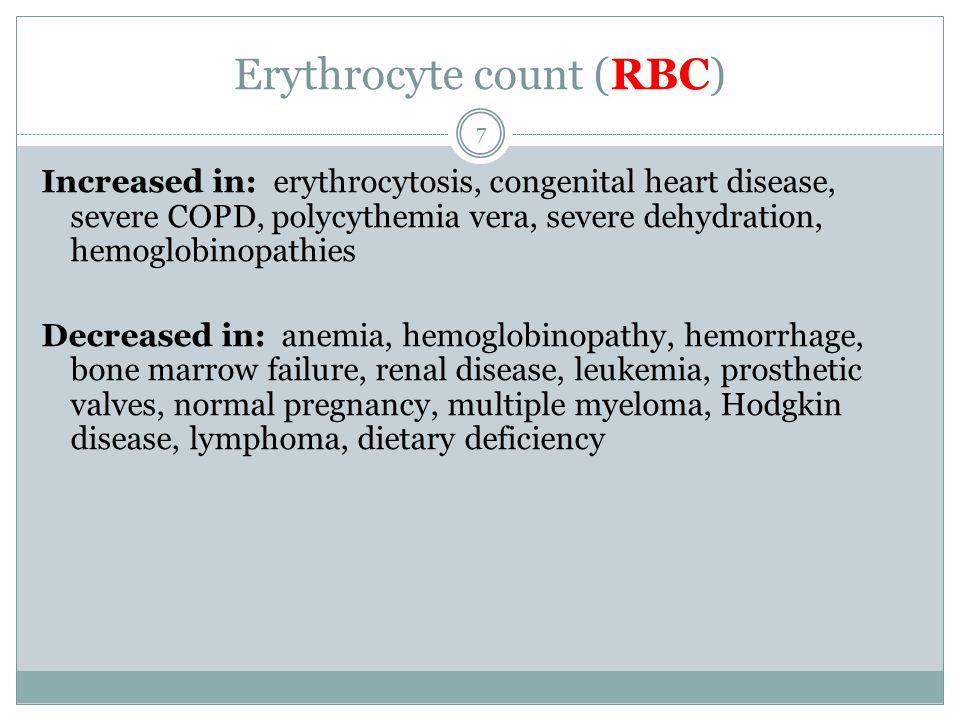Erythrocyte count (RBC) Increased in: erythrocytosis, congenital heart disease, severe COPD, polycythemia vera, severe dehydration, hemoglobinopathies