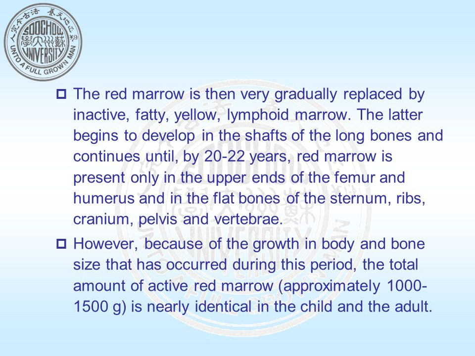  The red marrow is then very gradually replaced by inactive, fatty, yellow, lymphoid marrow.