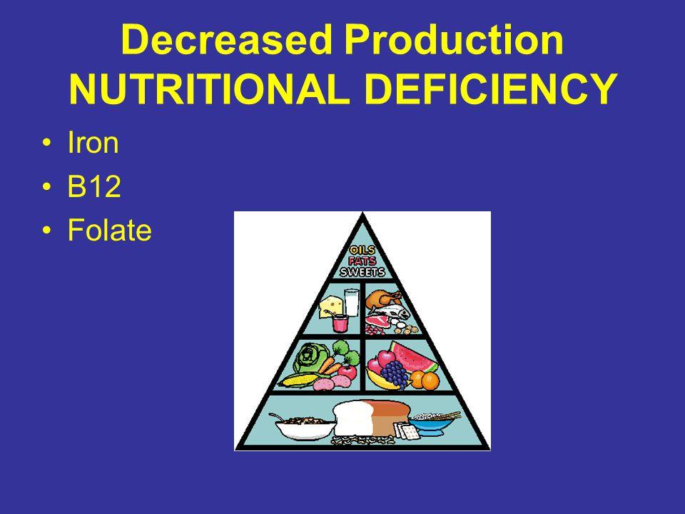 Decreased Production ENDOCRINE Thyroid Dysfunction –Hypothyroidism Erythropoietin Deficiency –Renal Failure