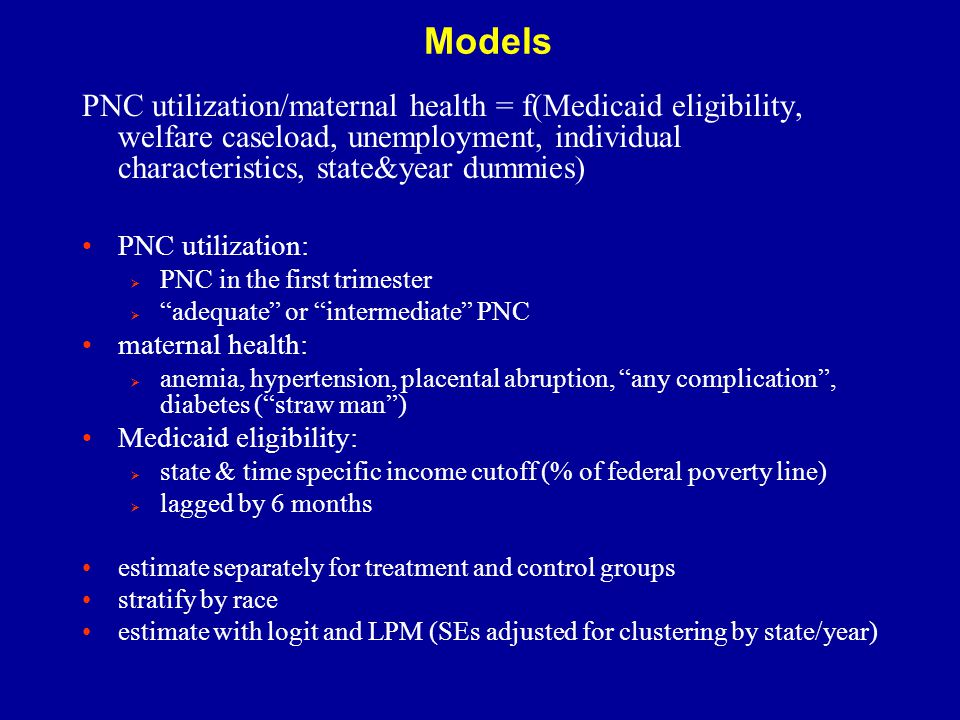 Descriptive Statistics – PNC Utilization  black women start PNC later & are less likely to get adequate care  PNC utilization increases with SES (education)  married women receive earlier & more adequate care  trends: PNC use increased substantially in the 1990's (strongest for very-low SES cohorts)