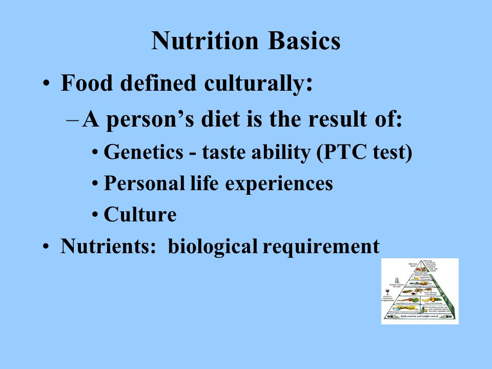Nutrition Basics Food defined culturally : –A person's diet is the result of: Genetics - taste ability (PTC test) Personal life experiences Culture Nutrients: biological requirement