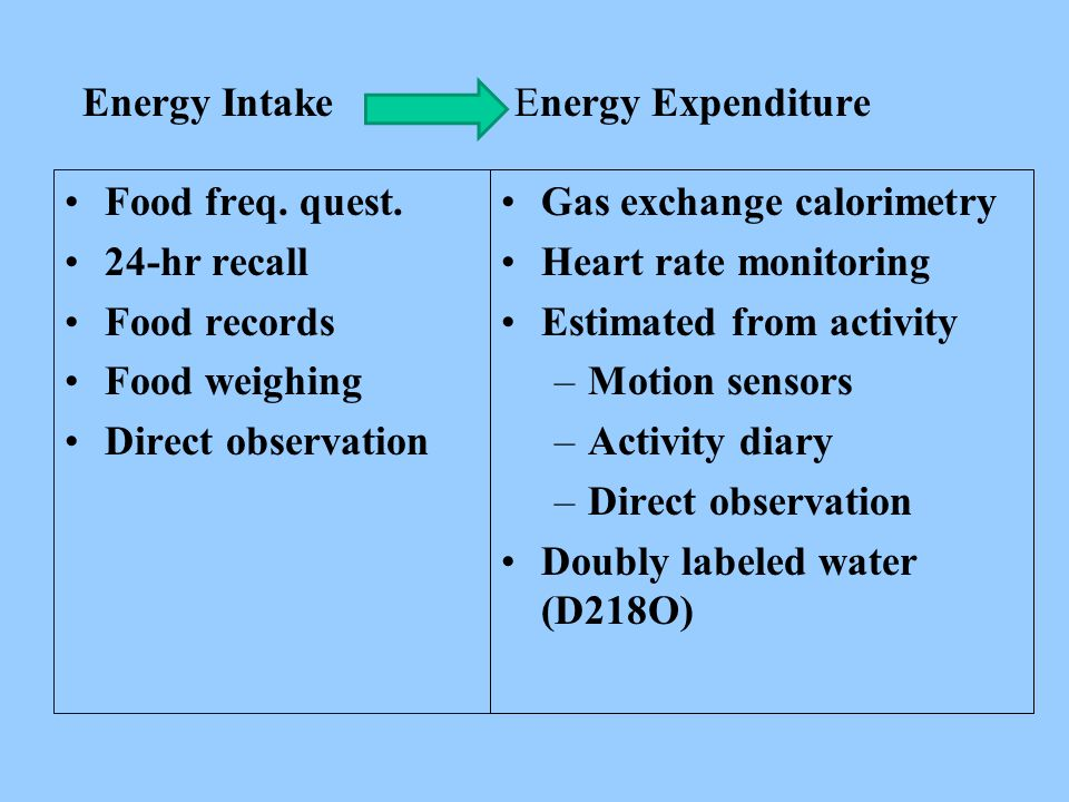 Energy Intake Energy Expenditure Food freq. quest.