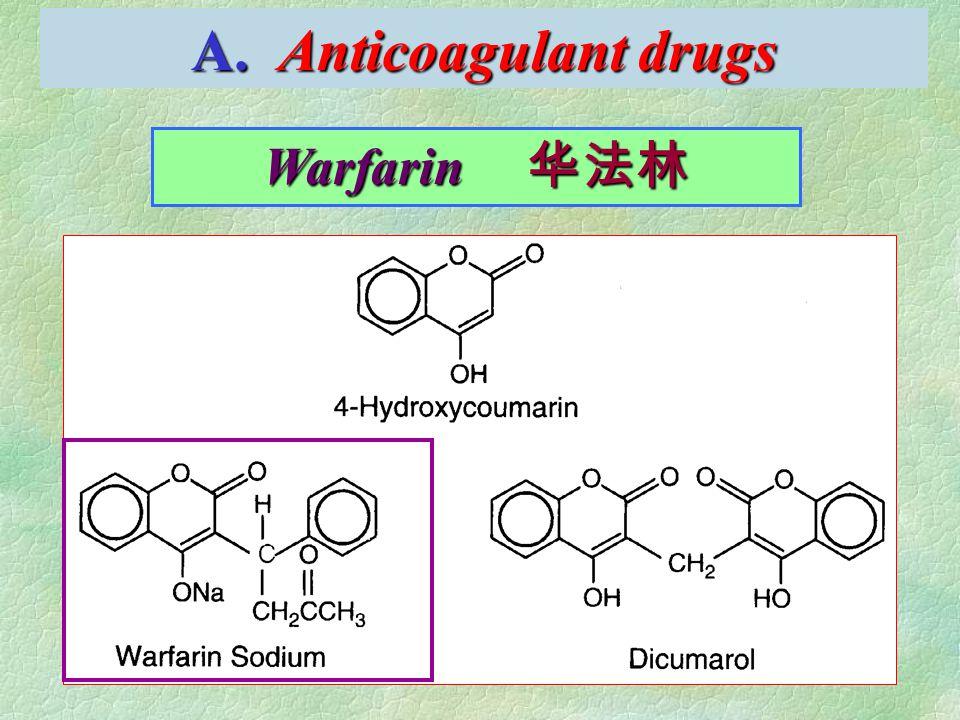 A. Anticoagulant drugs Warfarin 华法林