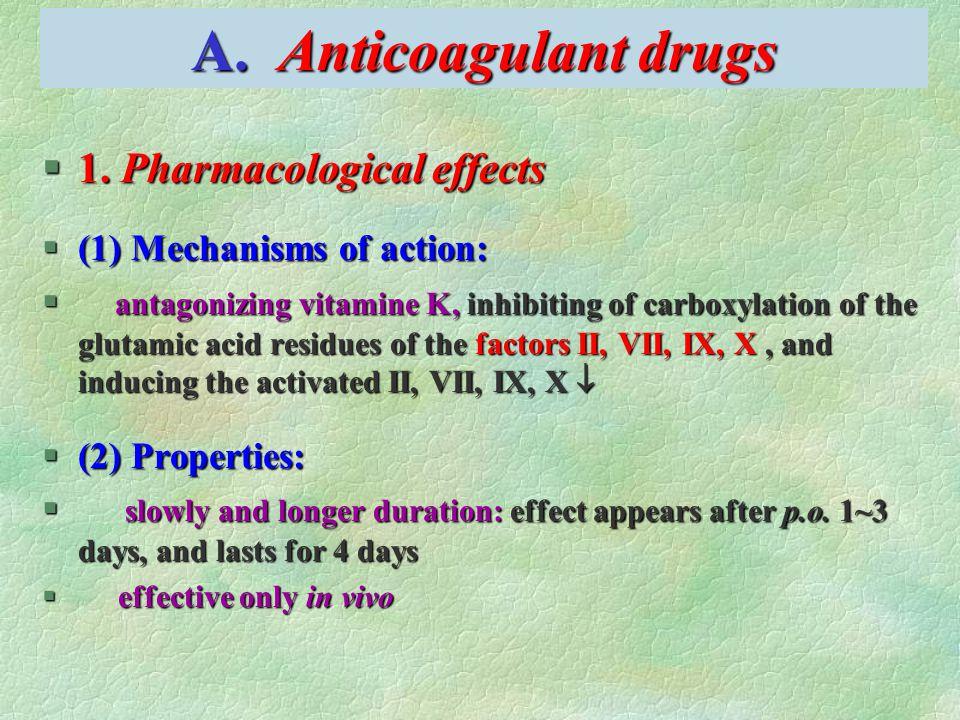 A. Anticoagulant drugs §1.