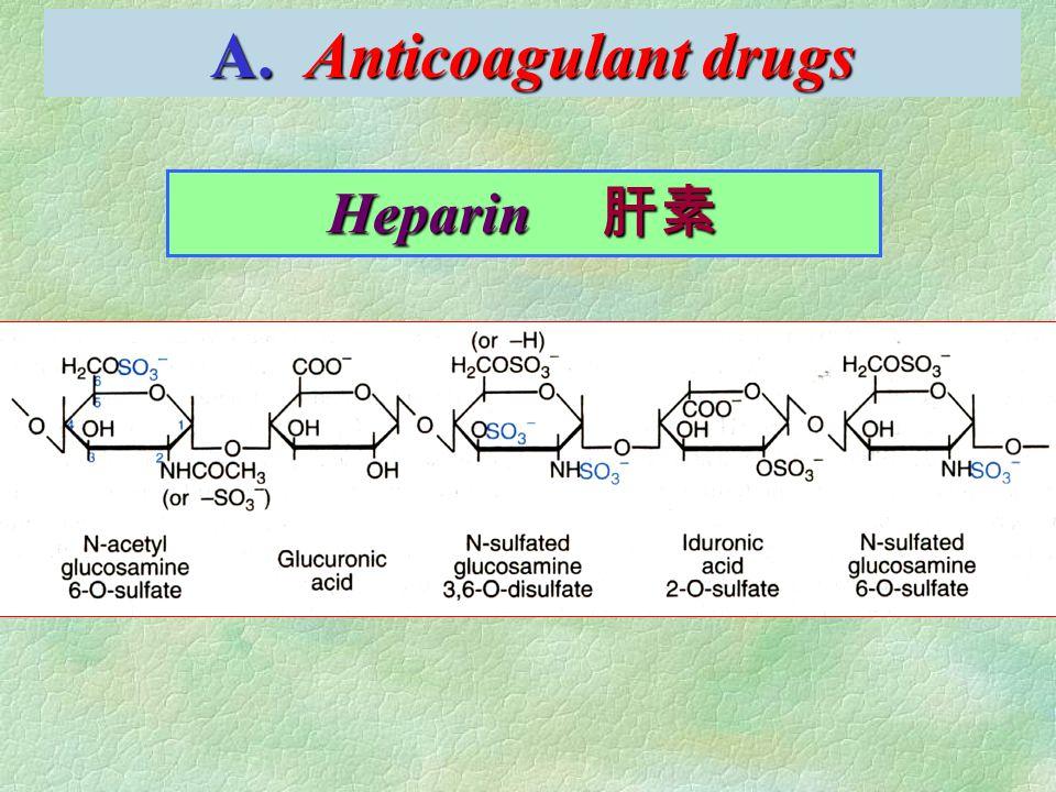 A. Anticoagulant drugs Heparin 肝素