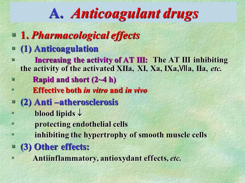 A. Anticoagulant drugs §1. Pharmacological effects §(1) Anticoagulation  Increasing the activity of AT III: The AT III inhibiting the activity of the