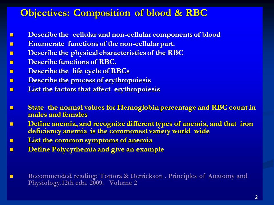 Objectives: Composition of blood & RBC Objectives: Composition of blood & RBC Describe the cellular and non-cellular components of blood Describe the cellular and non-cellular components of blood Enumerate functions of the non-cellular part.