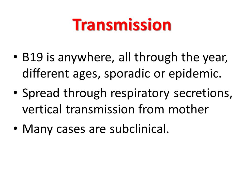 Transmission B19 is anywhere, all through the year, different ages, sporadic or epidemic. Spread through respiratory secretions, vertical transmission