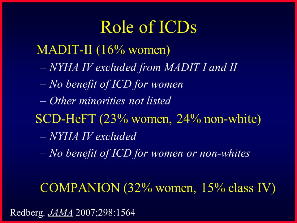 Role of ICDs MADIT-II (16% women) –NYHA IV excluded from MADIT I and II –No benefit of ICD for women –Other minorities not listed SCD-HeFT (23% women,