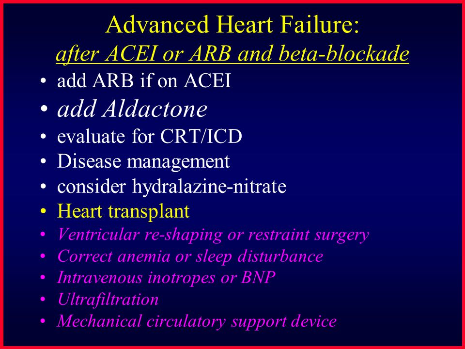 Aldosterone Blockade in Heart Failure RALES: Randomized Aldactone Evaluation Study 1663 pts NYHA III and IV, ave age 65 and LVEF 0.25, on ACEI and loop diuretic Randomized to Aldactone 25 mg PO qd vs Placebo Pitt NEJM 1999;341:709-17