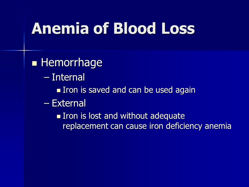 Anemia of Blood Loss Hemorrhage Hemorrhage –Internal Iron is saved and can be used again Iron is saved and can be used again –External Iron is lost and without adequate replacement can cause iron deficiency anemia Iron is lost and without adequate replacement can cause iron deficiency anemia