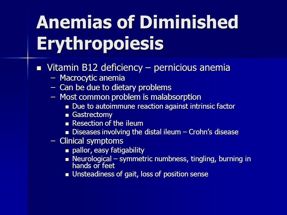 Anemias of Diminished Erythropoiesis Vitamin B12 deficiency – pernicious anemia Vitamin B12 deficiency – pernicious anemia –Macrocytic anemia –Can be