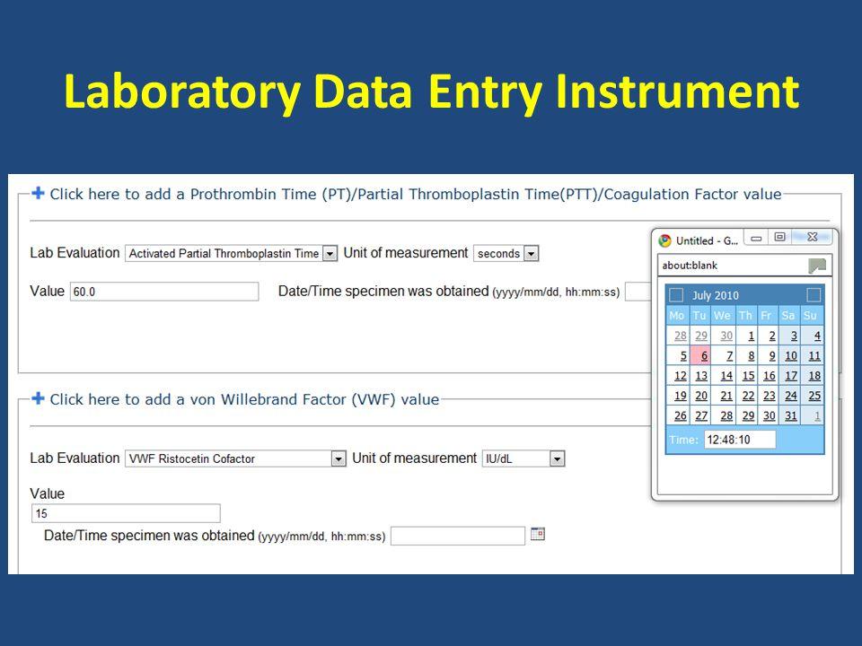 Laboratory Data Entry Instrument