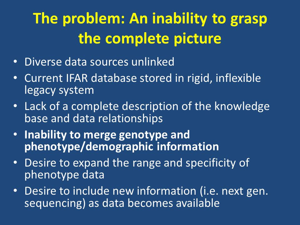 The problem: An inability to grasp the complete picture Diverse data sources unlinked Current IFAR database stored in rigid, inflexible legacy system Lack of a complete description of the knowledge base and data relationships Inability to merge genotype and phenotype/demographic information Desire to expand the range and specificity of phenotype data Desire to include new information (i.e.