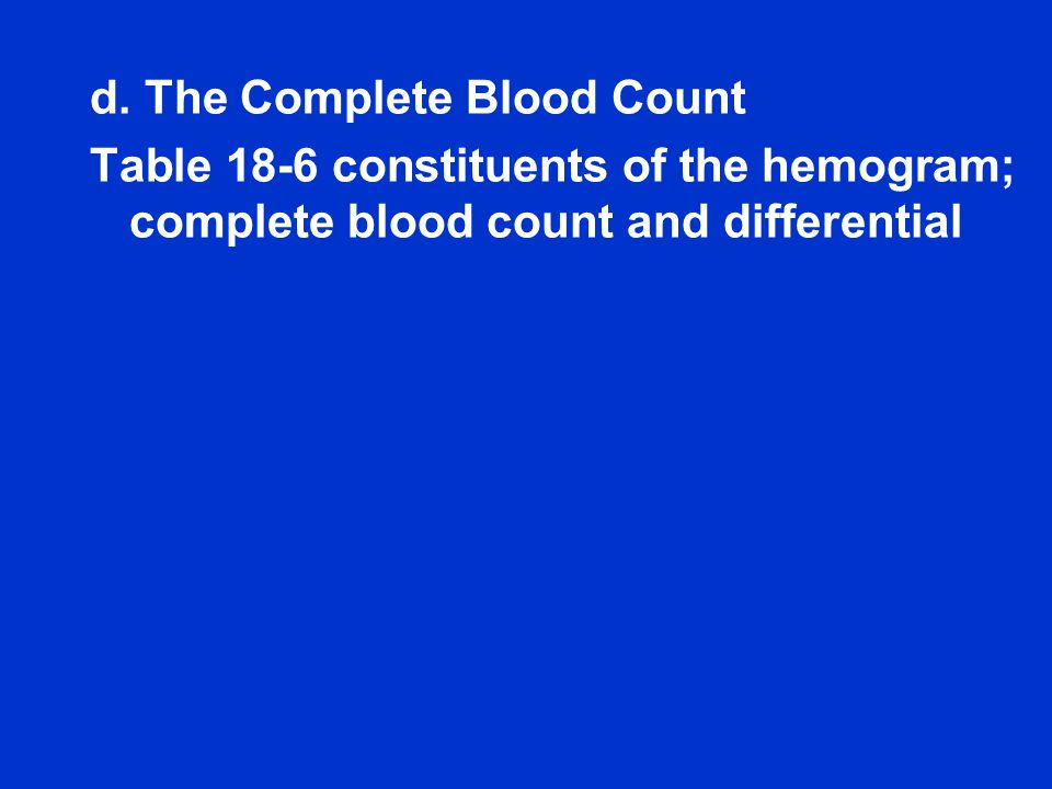 d. The Complete Blood Count Table 18-6 constituents of the hemogram; complete blood count and differential