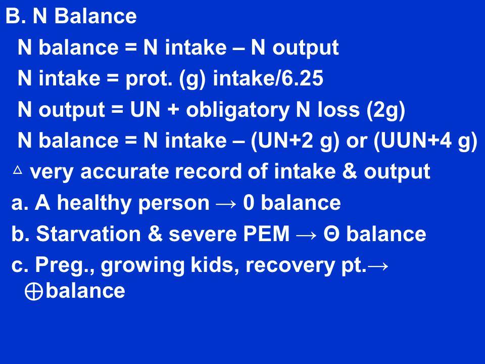 B. N Balance N balance = N intake – N output N intake = prot.