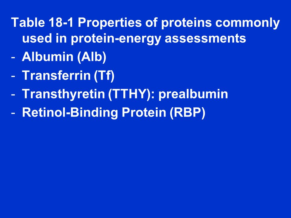 Table 18-1 Properties of proteins commonly used in protein-energy assessments -Albumin (Alb) -Transferrin (Tf) -Transthyretin (TTHY): prealbumin -Retinol-Binding Protein (RBP)