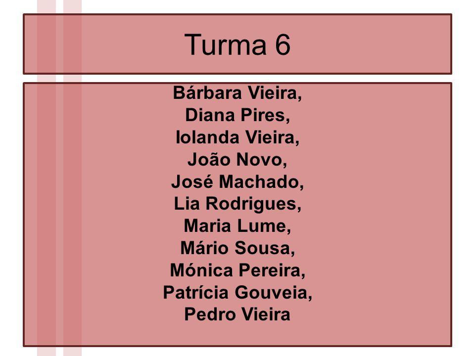 Turma 6 Bárbara Vieira, Diana Pires, Iolanda Vieira, João Novo, José Machado, Lia Rodrigues, Maria Lume, Mário Sousa, Mónica Pereira, Patrícia Gouveia, Pedro Vieira