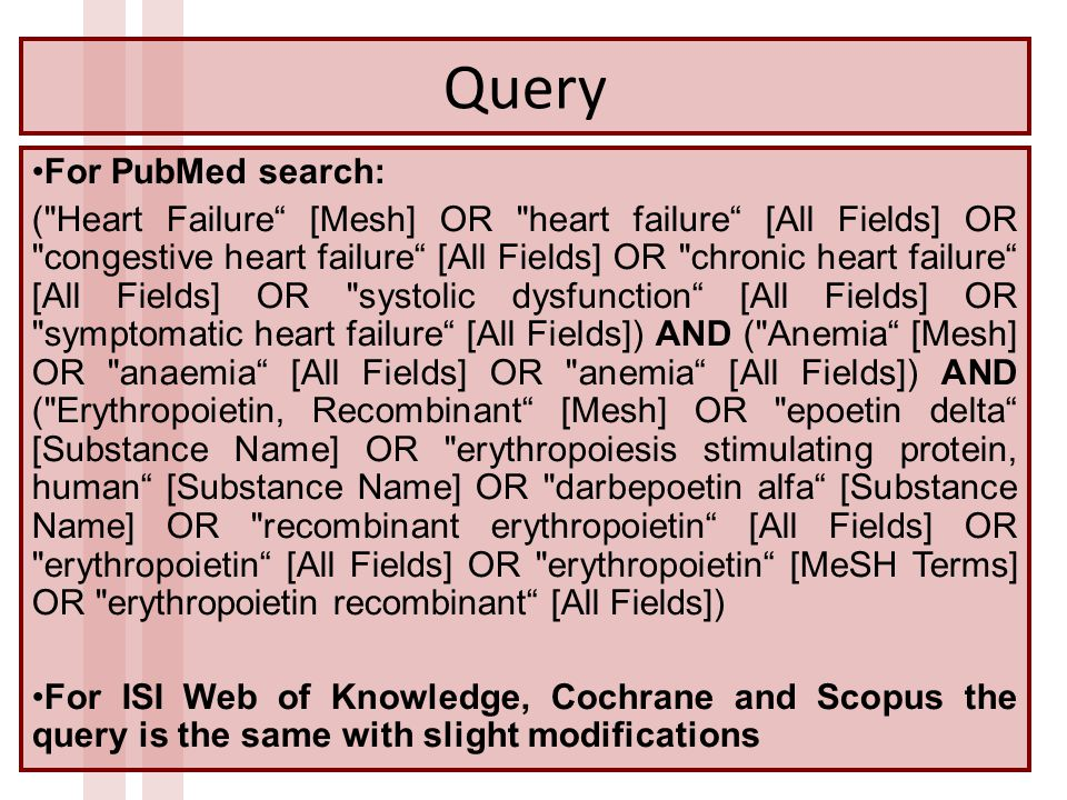Query For PubMed search: ( Heart Failure [Mesh] OR heart failure [All Fields] OR congestive heart failure [All Fields] OR chronic heart failure [All Fields] OR systolic dysfunction [All Fields] OR symptomatic heart failure [All Fields]) AND ( Anemia [Mesh] OR anaemia [All Fields] OR anemia [All Fields]) AND ( Erythropoietin, Recombinant [Mesh] OR epoetin delta [Substance Name] OR erythropoiesis stimulating protein, human [Substance Name] OR darbepoetin alfa [Substance Name] OR recombinant erythropoietin [All Fields] OR erythropoietin [All Fields] OR erythropoietin [MeSH Terms] OR erythropoietin recombinant [All Fields]) For ISI Web of Knowledge, Cochrane and Scopus the query is the same with slight modifications