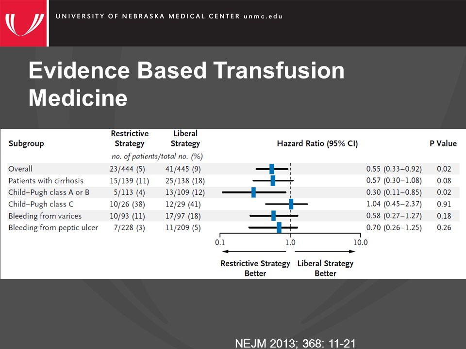 Evidence Based Transfusion Medicine NEJM 2013; 368: 11-21